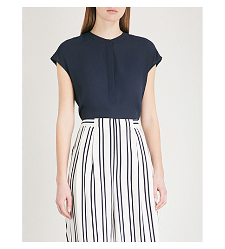 WAREHOUSE Button-side crepe blouse Navy Official Site Cheap Sale Best Store To Get Cheap View Clearance Discount Lowest Price 6usw1