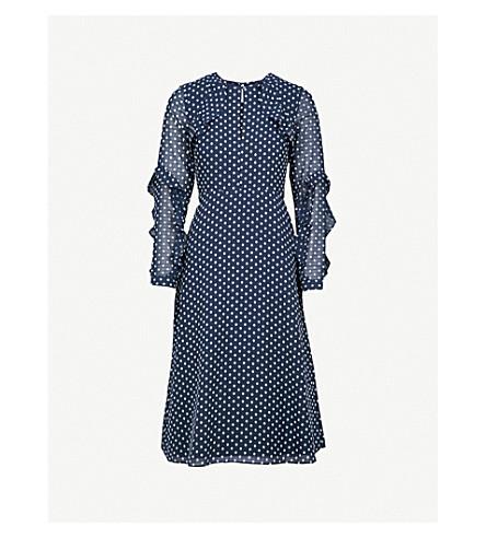 WAREHOUSE Embroidered-dot chiffon dress (Navy
