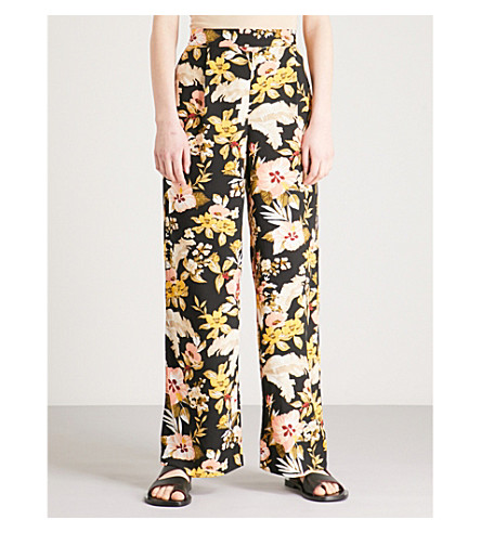WAREHOUSE Hibiscus-print wide-leg high-rise woven trousers (Black