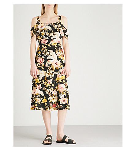 WAREHOUSE Hibiscus-print cold-shoulder woven dress (Black