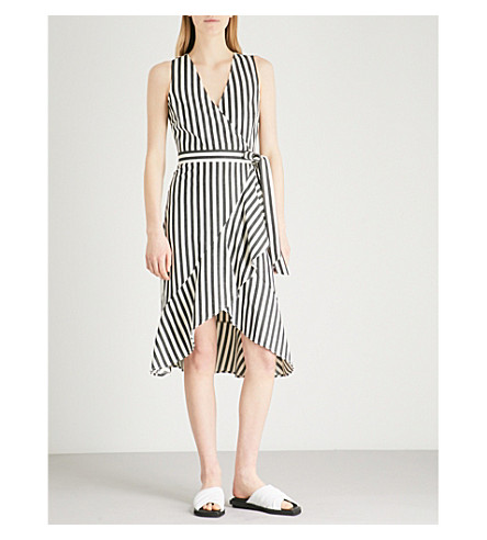 WAREHOUSE Striped cotton wrap dress (None