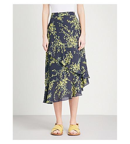 WAREHOUSE Sweetpea ruffle crepe skirt (Navy