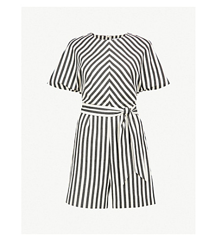 WAREHOUSE Striped belted cotton playsuit (None