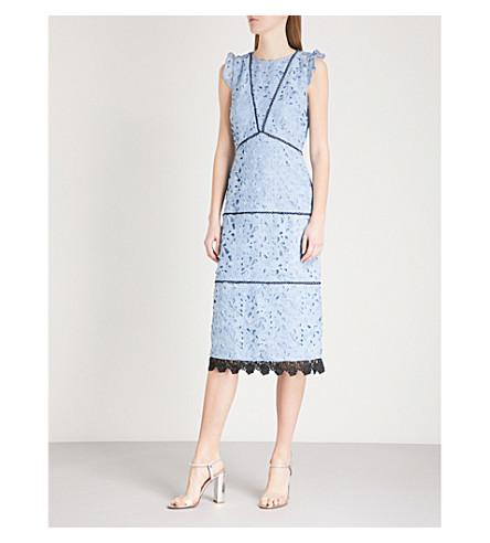 WAREHOUSE Scalloped-hem lace midi dress (Pale+blue