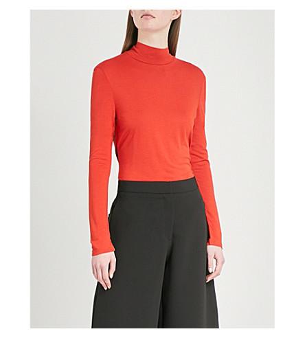 WAREHOUSE Turtleneck cotton-jersey top (Bright+orange
