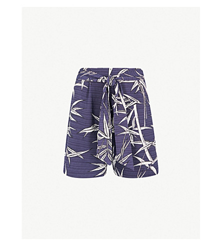 WAREHOUSE Bamboo-print woven shorts (None