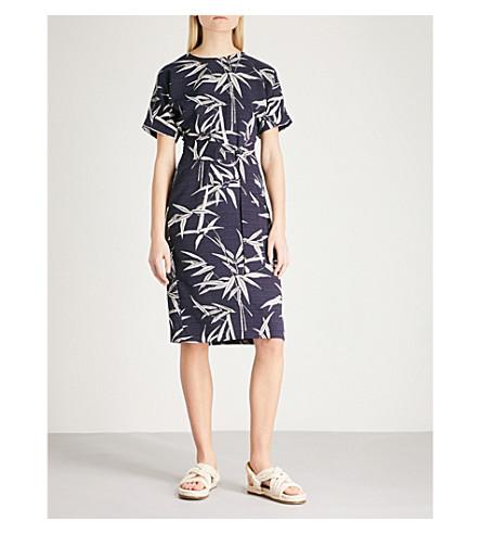 WAREHOUSE Bamboo-print crepe dress (None
