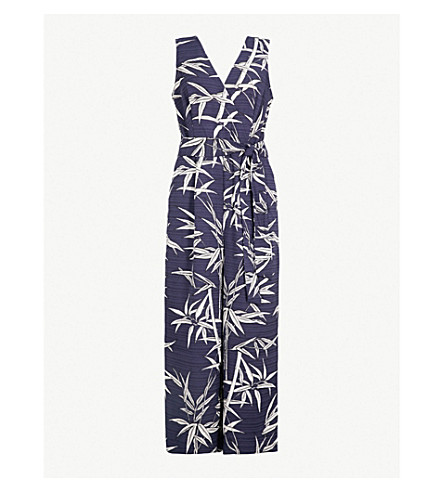 WAREHOUSE Bamboo-print crepe jumpsuit (None