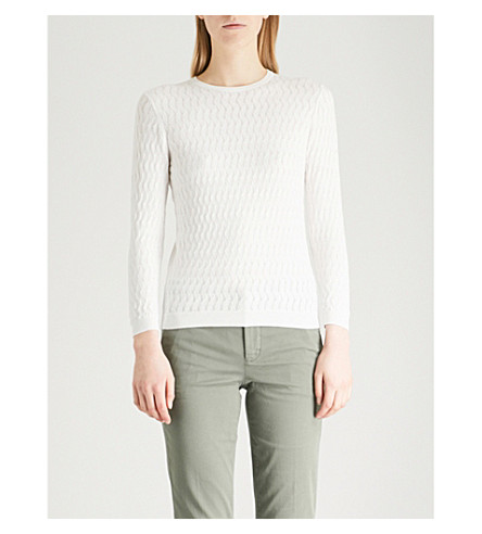 WAREHOUSE Curve-stitched knitted jumper (Cream