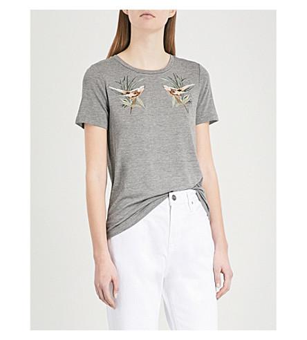 WAREHOUSE Songbird cotton-jersey T-shirt (Grey
