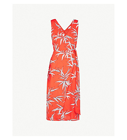 WAREHOUSE Bamboo-print crepe wrap dress (Red