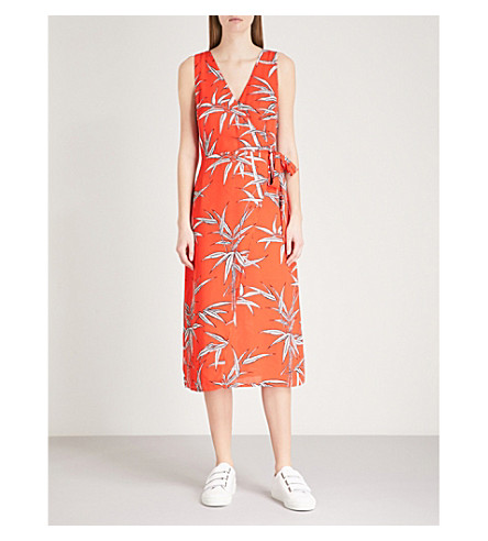 WAREHOUSE Bamboo-print crepe wrap dress (Red