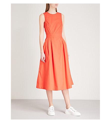 WAREHOUSE Tie-back cotton-poplin midi dress (Bright+orange
