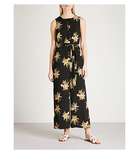 WAREHOUSE Tropical crepe jumpsuit (Black