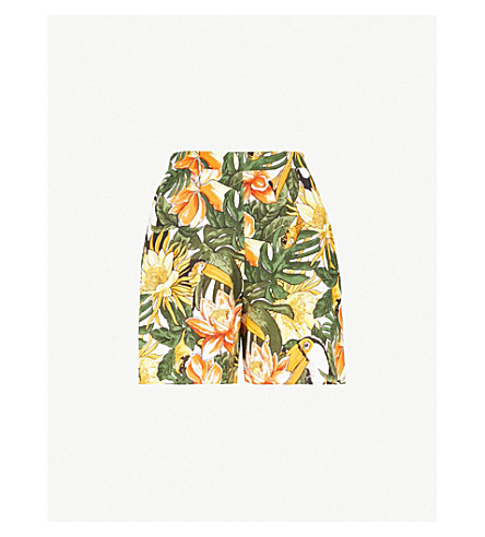 WAREHOUSE棕榈印编织的高起短裤 (绿色