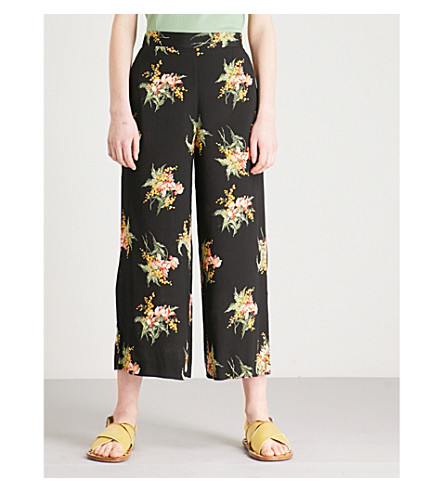 WAREHOUSE Tropical floral-print wide-leg high-rise crepe culottes (Black