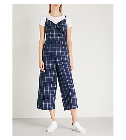 WAREHOUSE Checked cotton and linen-blend jumpsuit (Navy