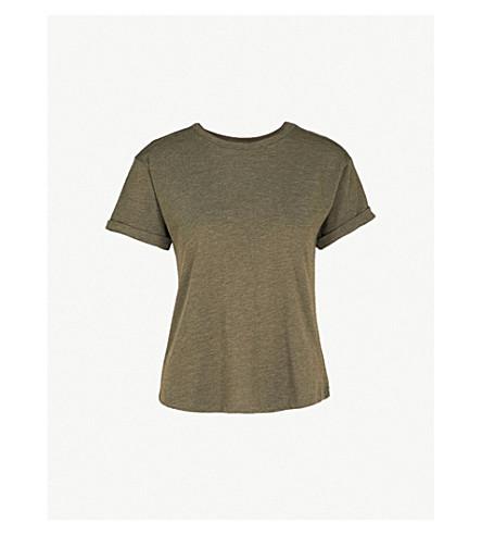 WAREHOUSE Casual-fit jersey T-shirt (Khaki