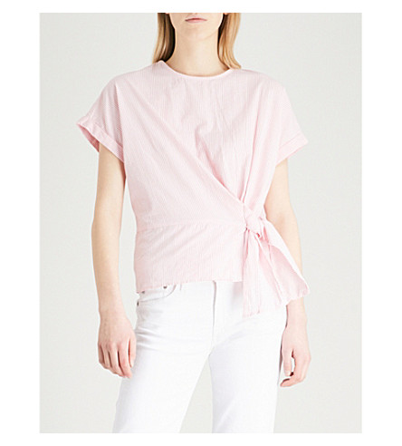 WAREHOUSE Striped self-tie cotton top (Pink