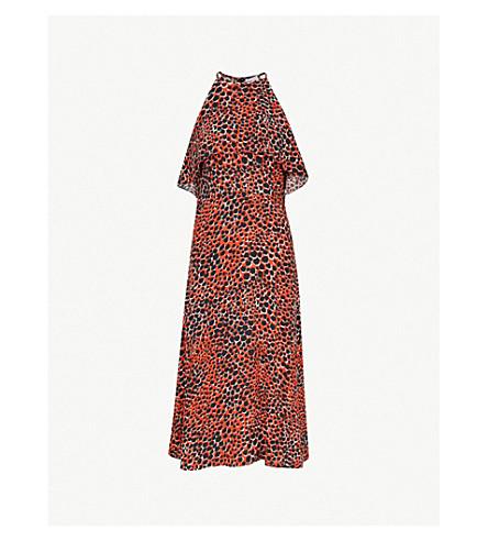 WAREHOUSE猎豹-印花绉背裙 (亮 + 橙
