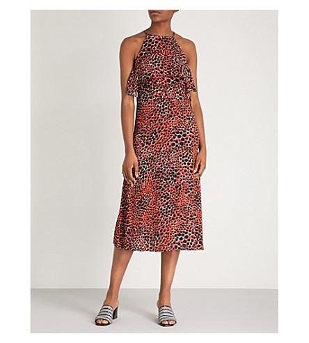 WAREHOUSE Cheetah-print crepe halter dress (Bright+orange
