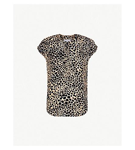 WAREHOUSE Cheetah-print woven top (Cream
