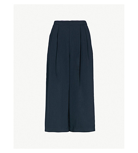 WAREHOUSE Pleated crepe culottes (Navy