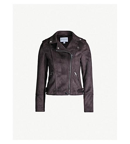 WAREHOUSE Quilted faux-suede biker jacket (Dark grey