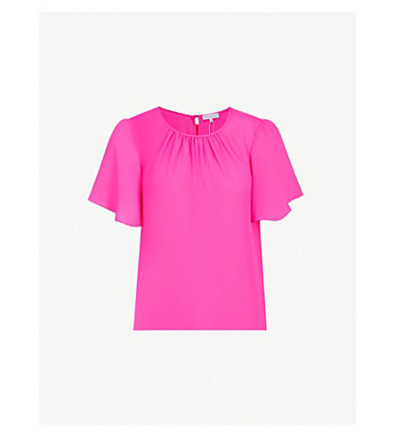 WAREHOUSE Flared-sleeve crepe top (Bright+pink