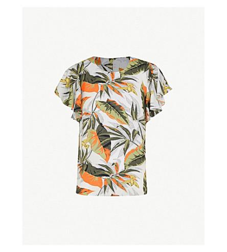 WAREHOUSE Palm-print woven top (Green