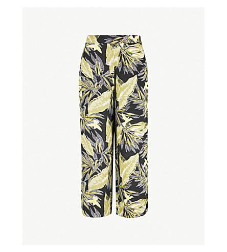 WAREHOUSE Palm leaf-print crepe culottes (Black