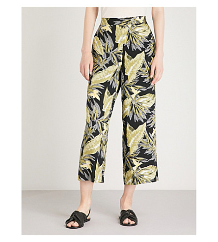 WAREHOUSE Palm leaf-print crepe culottes (Black