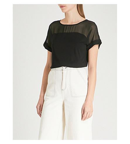 WAREHOUSE Sheer-panel cotton-jersey top (Black