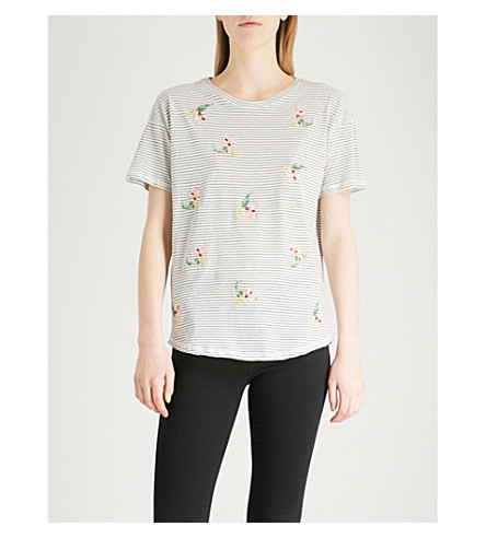 WAREHOUSE Striped floral-embroidered cotton-jersey T-shirt (Black