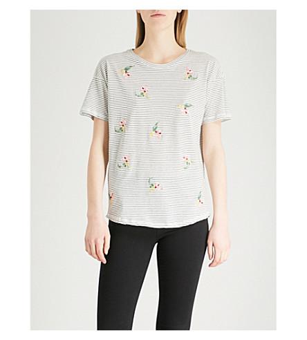 Negro algodón ALMACÉN con de jersey rayas de bordados a florales Camiseta 6qxaqIv
