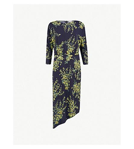 WAREHOUSE Sweet pea-print asymmetric jersey dress (Navy