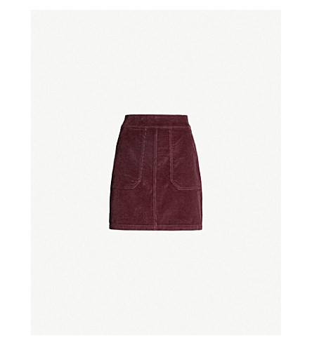 WAREHOUSE Pockets stretch-corduroy skirt (Pink