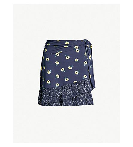 WAREHOUSE Buttercup-print jersey skirt (Blue pattern