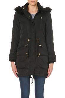 WAREHOUSE Quilted sleeve fur hooded parka coat