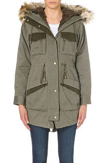WAREHOUSE Detachable Contrast Pocket parka
