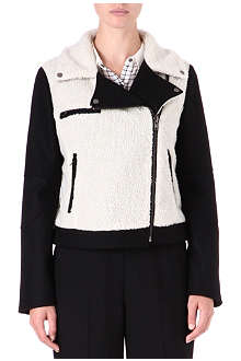 WAREHOUSE Borg-collar biker jacket