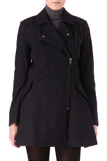WAREHOUSE Zip flared wool-blend coat