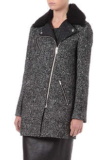 WAREHOUSE Herringbone biker coat