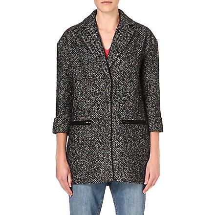 WAREHOUSE Neon tweed coat (Black