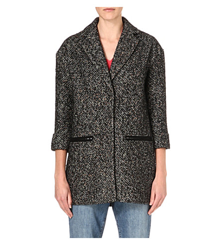 WAREHOUSE Neon tweed coat (Black