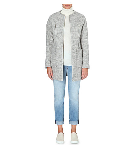 WAREHOUSE Bouclé zip-through coat (Grey