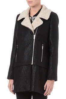 WAREHOUSE Borg-collar biker coat