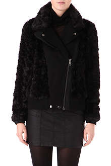 WAREHOUSE Faux-fur and faux-leather biker jacket