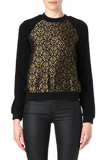 WAREHOUSE Gold jacquard sweatshirt