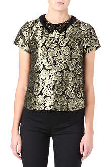 WAREHOUSE Embellished jacquard top